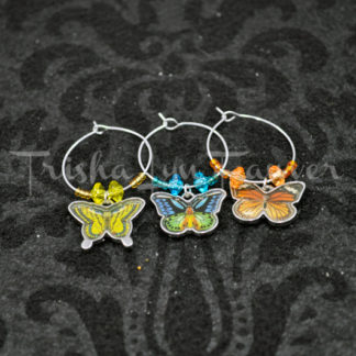 Butterfly Trio Wine Charms
