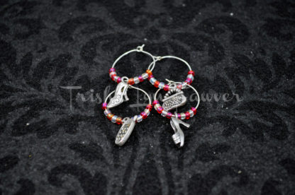 Red and White Fashionista Wine Charms
