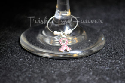 Breast Cancer Awareness Bling Ribbons Wine Charms (#1)