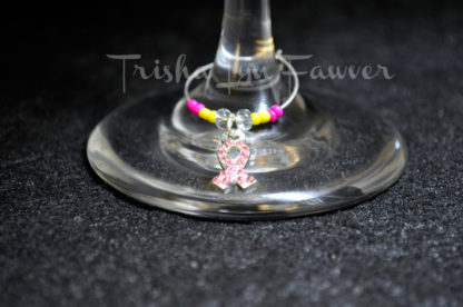 Breast Cancer Awareness Bling Ribbons Wine Charms (#2)