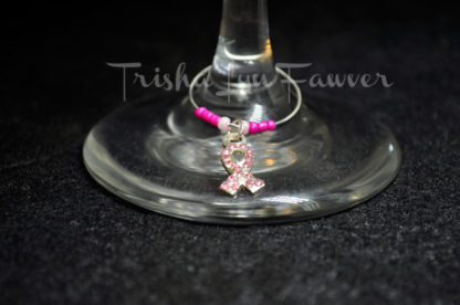 Breast Cancer Awareness Bling Ribbons Wine Charms (#3)