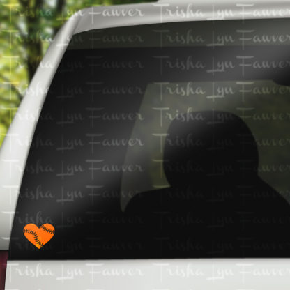Baseball Love Vinyl Decal in Orange