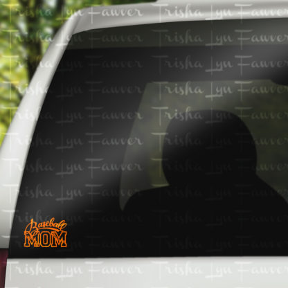 Baseball Mom Vinyl Decal in Orange