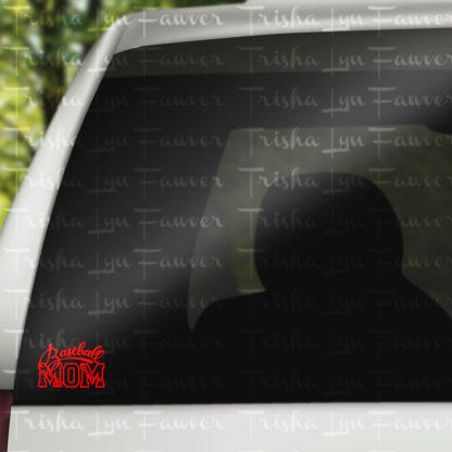 Baseball Mom Vinyl Decal in Red