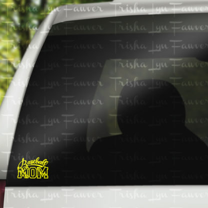 Baseball Mom Vinyl Decal in Yellow