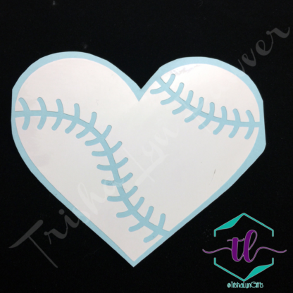 Baseball Love Vinyl Decal in White