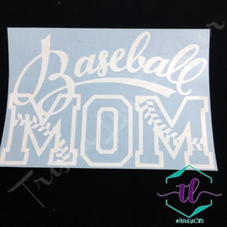 Baseball Mom Vinyl Decal in White