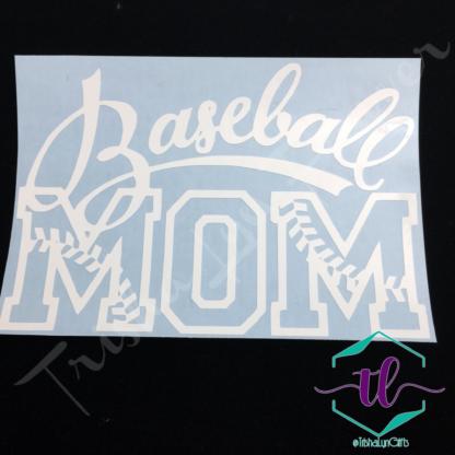 Baseball Mom Vinyl Decal in White