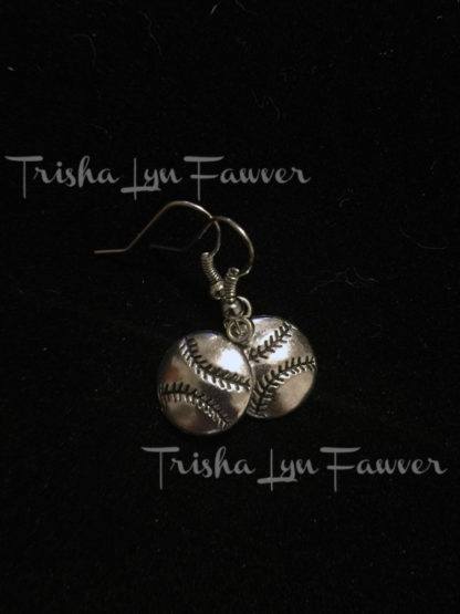 Silvertone Baseball Earrings