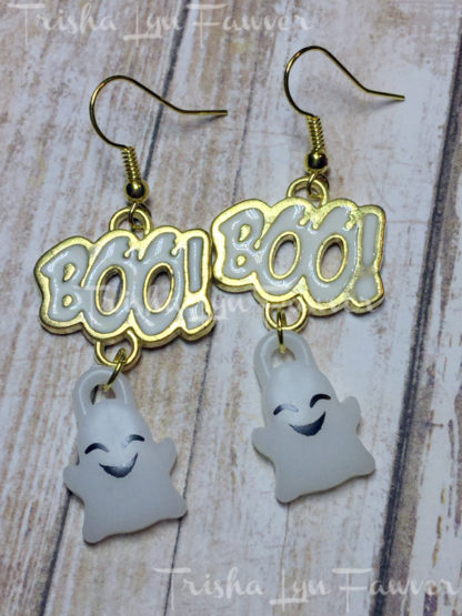 Gold Boo! Ghost Earrings