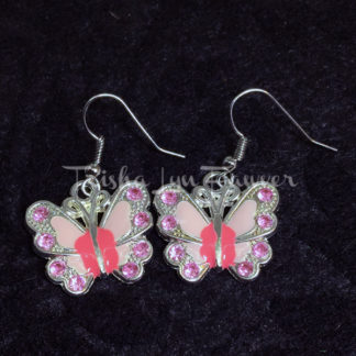 Jeweled Butterfly Earrings in Pink
