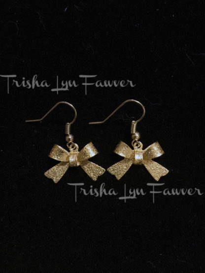 Gold Bow French Hook Earrings