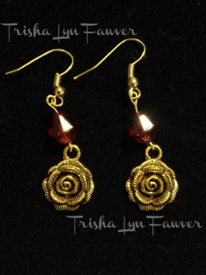 Golden Rose Earrings