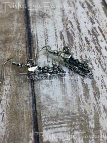 Silvertone Locomotive Earrings