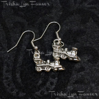Silvertone Locomotive Earrings