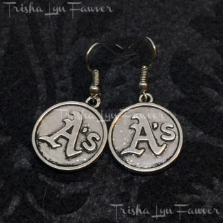 Silvertone Oakland Athletics Logo Earrings