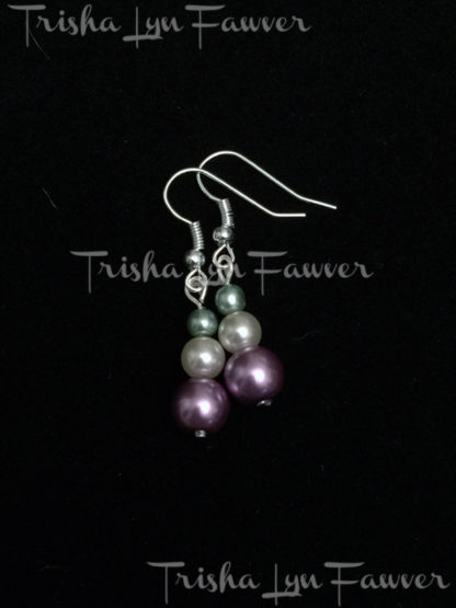 Pearl Trio Earrings in Lavender