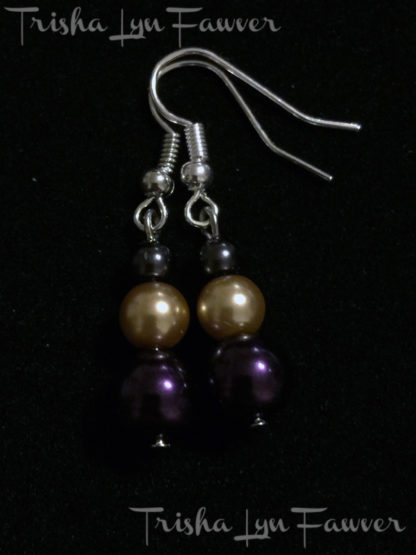 Pearl Trio Earrings in Purple