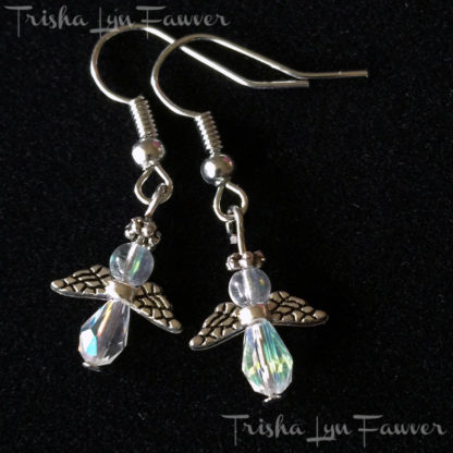 Petite Angel Earrings in Clear