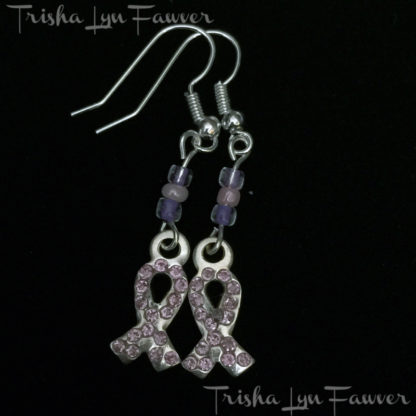 Pink Bling Ribbon Earrings in Purple