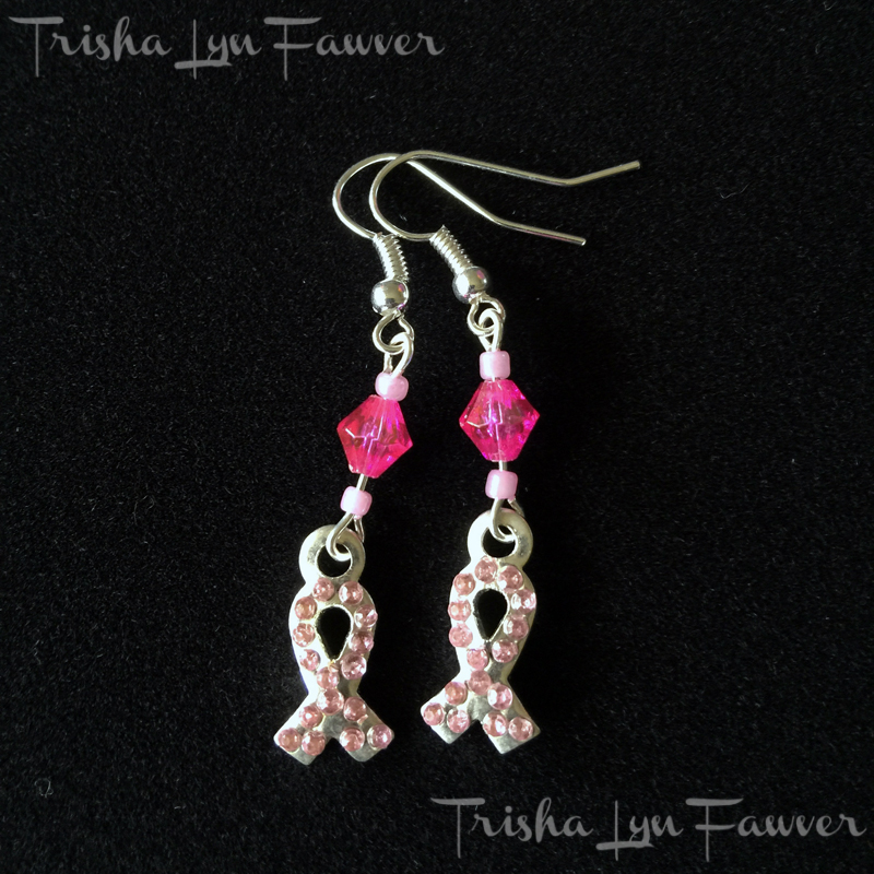 Pink Bling Ribbon Earrings