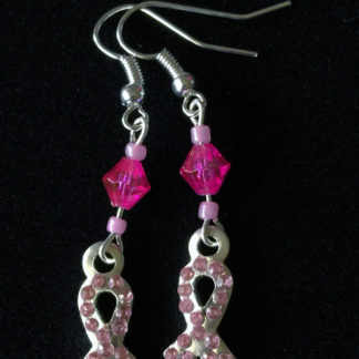 Pink Bling Ribbon Earrings in Hot Pink