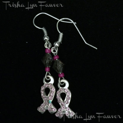 Pink Bling Ribbon Earrings in Black