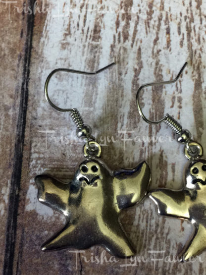 Silvertone Ghost Earrings