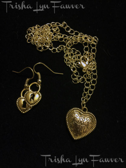 Key to My Heart Necklace & Earring Set