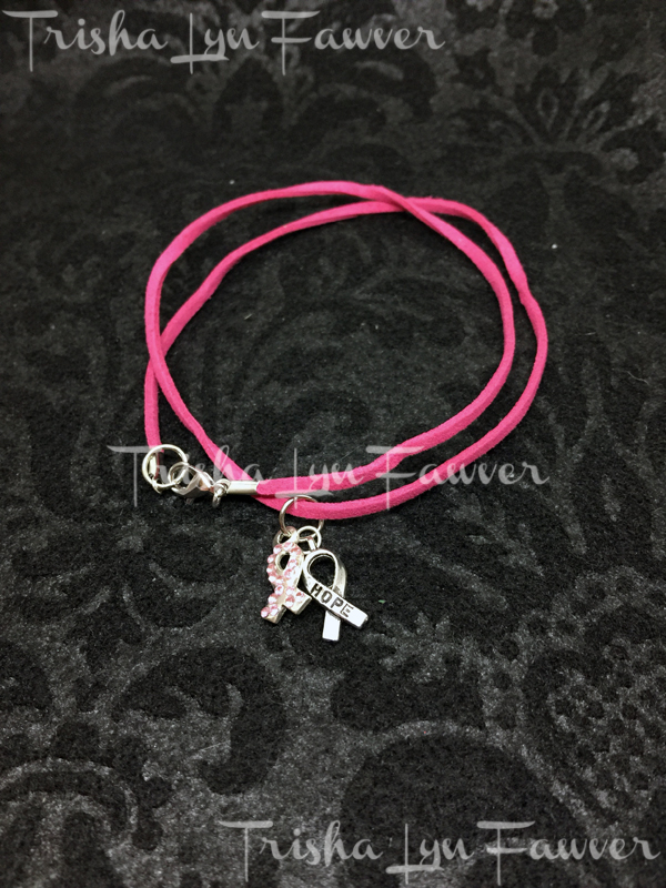 Pink Ribbon Hope Rose Suede Necklace