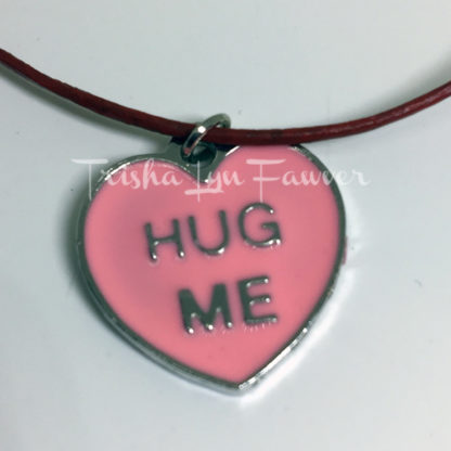 Hug Me Conversation Heart Red Leather Necklace