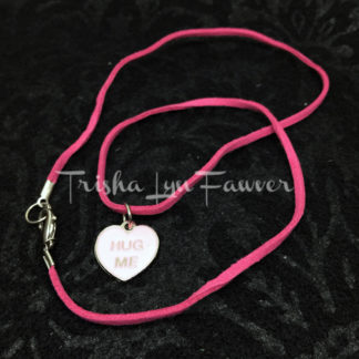 Hug Me Conversation Heart Rose Suede Necklace