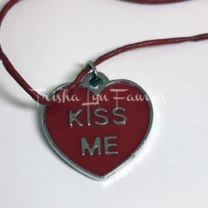 Kiss Me Conversation Heart Red Leather Necklace