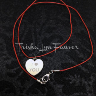 I ❤ You Conversation Heart Red Leather Necklace