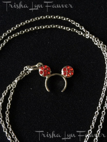Minnie Ear Rhinestone Necklaces in Red