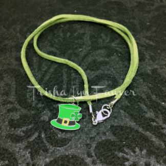Leprechaun Top Hat Green Suede Necklace