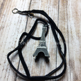 Victorian Eiffel Tower Black Suede Necklace