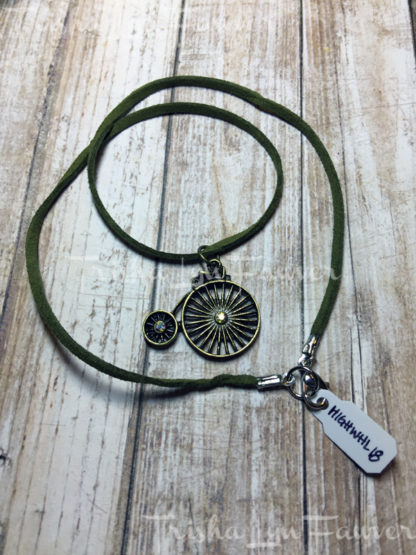 Victorian High Wheel Green Suede Necklace