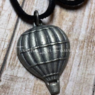 Victorian Hot Air Balloon Black Suede Necklace