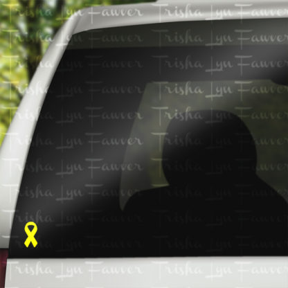 Cause Awareness Ribbon Vinyl Decal in Yellow