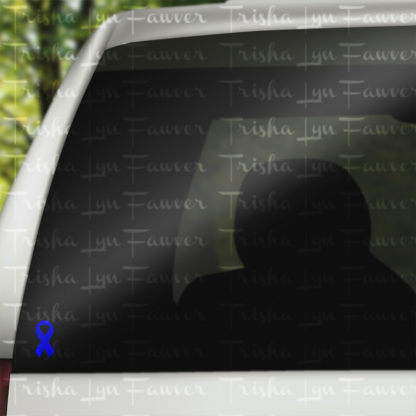 Cause Awareness Ribbon Vinyl Decal in Blue