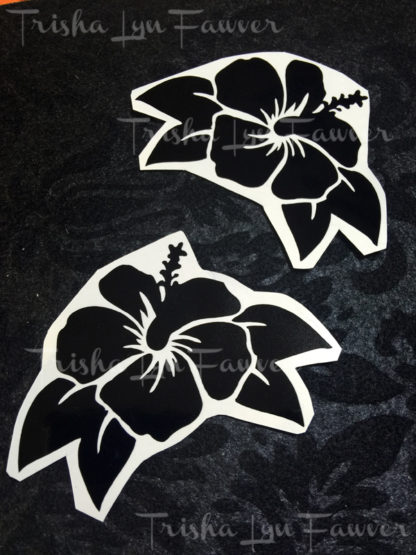 Hibiscus Flower Decals in Black Single