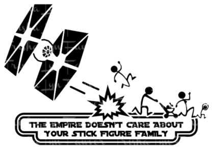 Empire Stick Figure Battle Vinyl Decal in Black