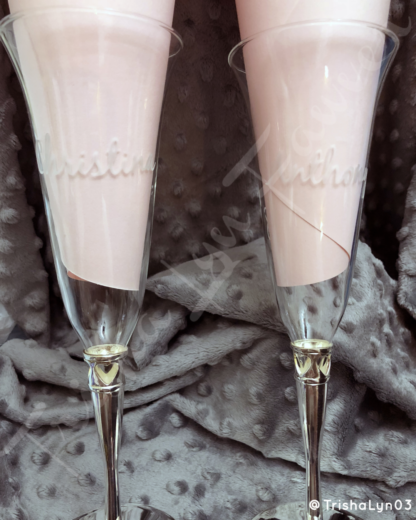 Etched Champagne Flutes