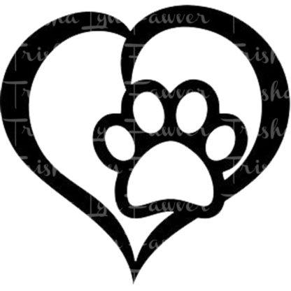 Paw Print Heart Vinyl Decals in Black