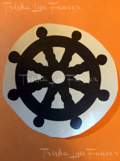 Ship Wheel Vinyl Decal in Black