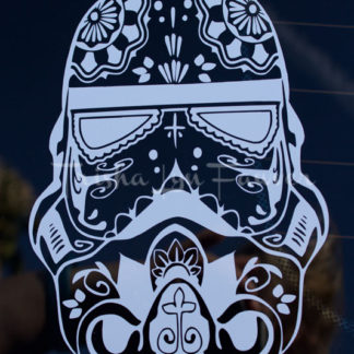 Sugar Skull Stormtrooper Vinyl Decal in White