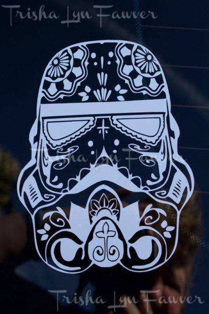 Sugar Skull Stormtrooper Vinyl Decal in White
