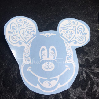 Mickey Swirl Vinyl Decal in White