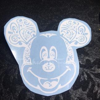 Mickey Swirl Vinyl Decal in White